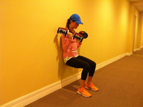 move of the week, fitness, workout, wall sit, bicep curl